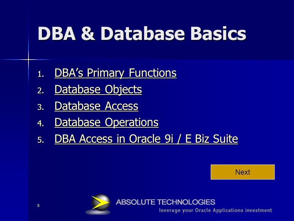 5 DBA & Database Basics 1. DBA's Primary Functions DBA's Primary Functions DBA's Primary Functions 2. Database Objects Database Objects Database Objec