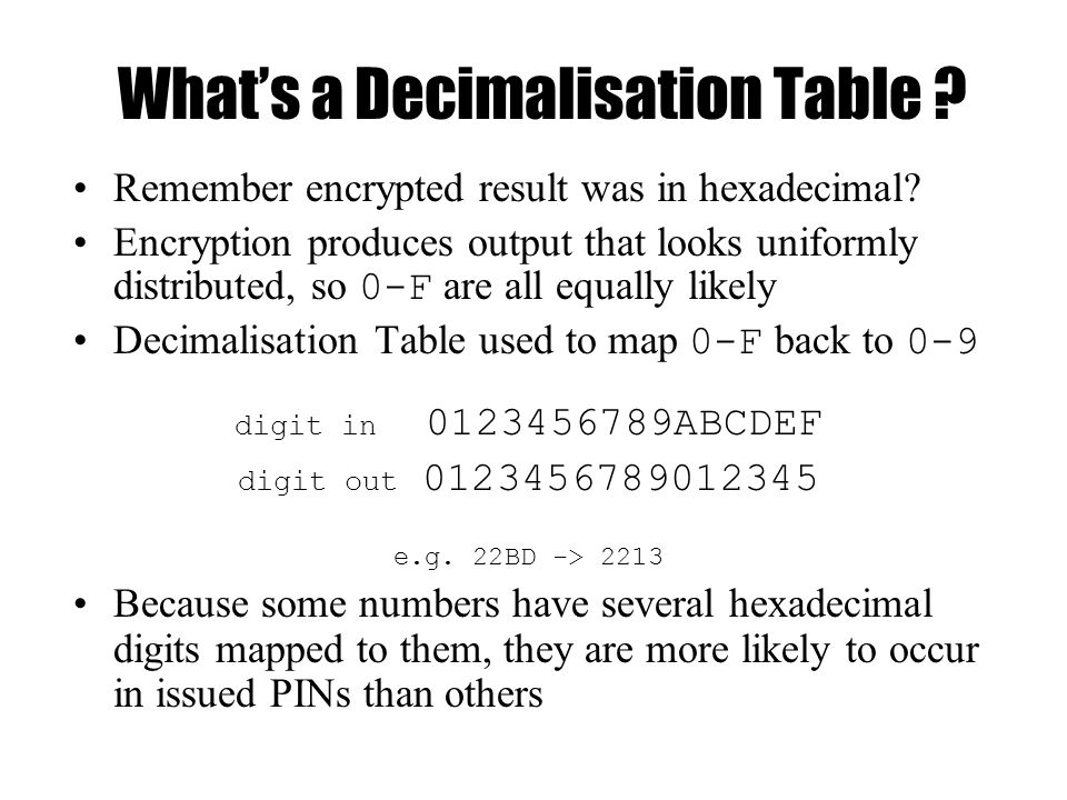 What's a Decimalisation Table . Remember encrypted result was in hexadecimal.