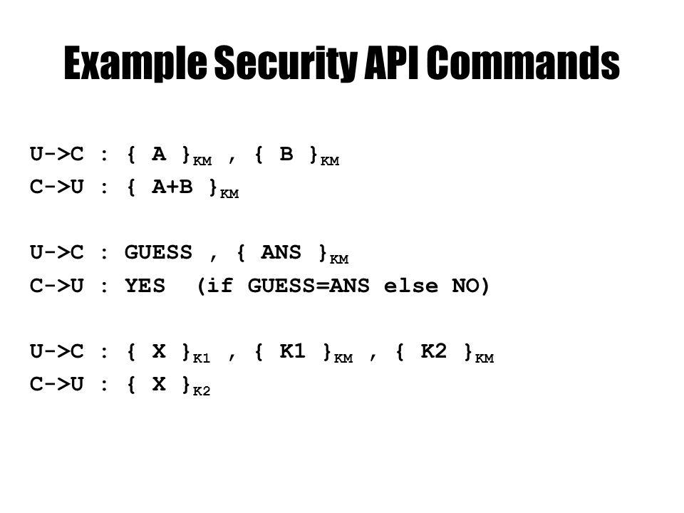 Example Security API Commands U->C : { A } KM, { B } KM C->U : { A+B } KM U->C : GUESS, { ANS } KM C->U : YES (if GUESS=ANS else NO) U->C : { X } K1, { K1 } KM, { K2 } KM C->U : { X } K2