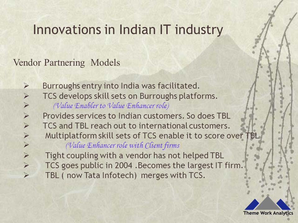 Vendor Partnering Models  Burroughs entry into India was facilitated.  TCS develops skill sets on Burroughs platforms.  (Value Enabler to Value Enh