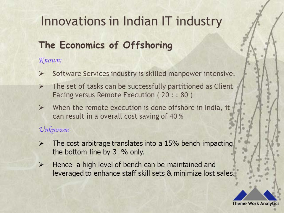 The Economics of Offshoring Known:  Software Services industry is skilled manpower intensive.