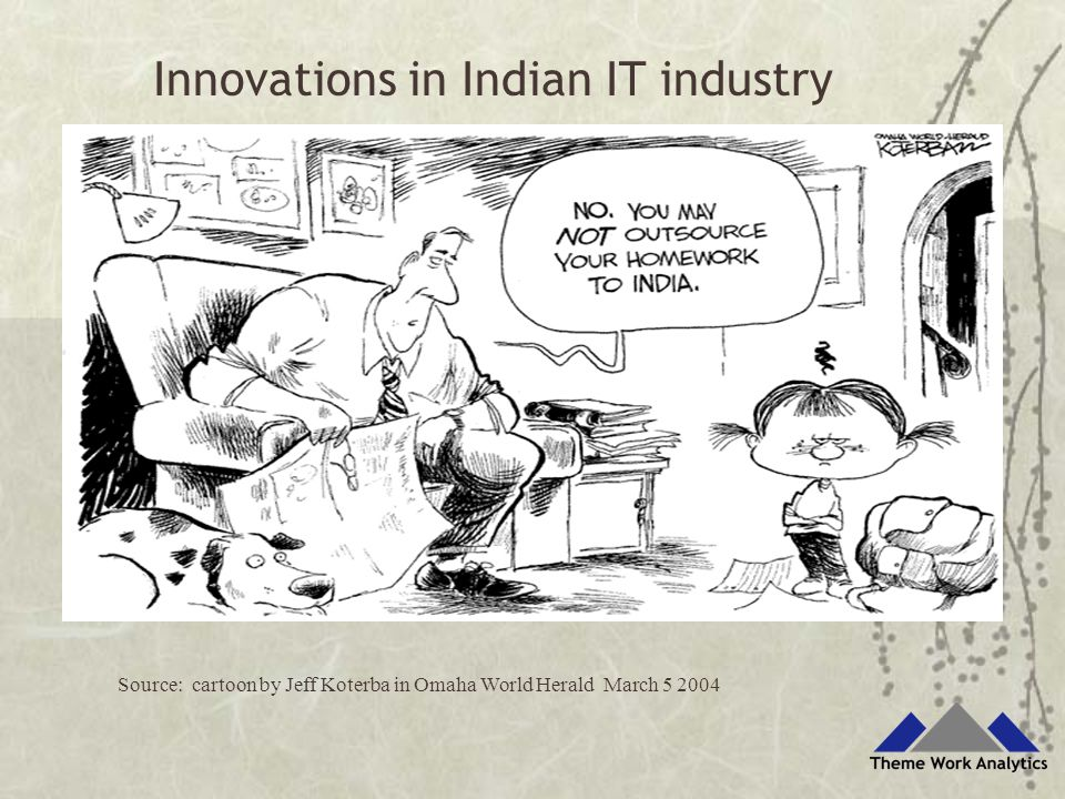 Source: cartoon by Jeff Koterba in Omaha World Herald March 5 2004 Innovations in Indian IT industry