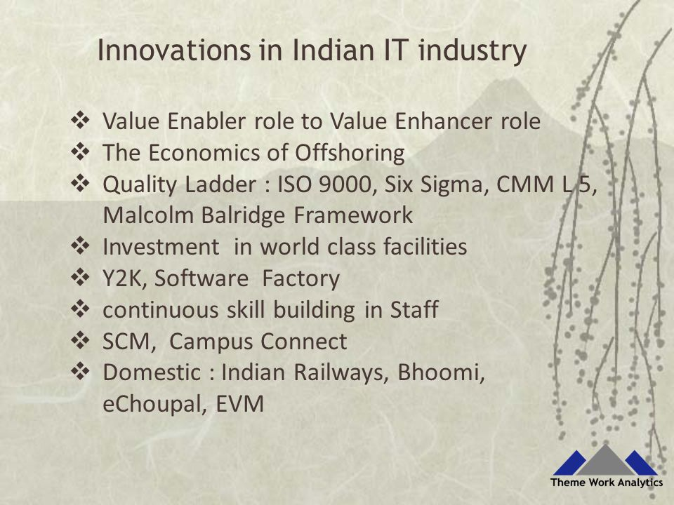  Value Enabler role to Value Enhancer role  The Economics of Offshoring  Quality Ladder : ISO 9000, Six Sigma, CMM L 5, Malcolm Balridge Framework  Investment in world class facilities  Y2K, Software Factory  continuous skill building in Staff  SCM, Campus Connect  Domestic : Indian Railways, Bhoomi, eChoupal, EVM