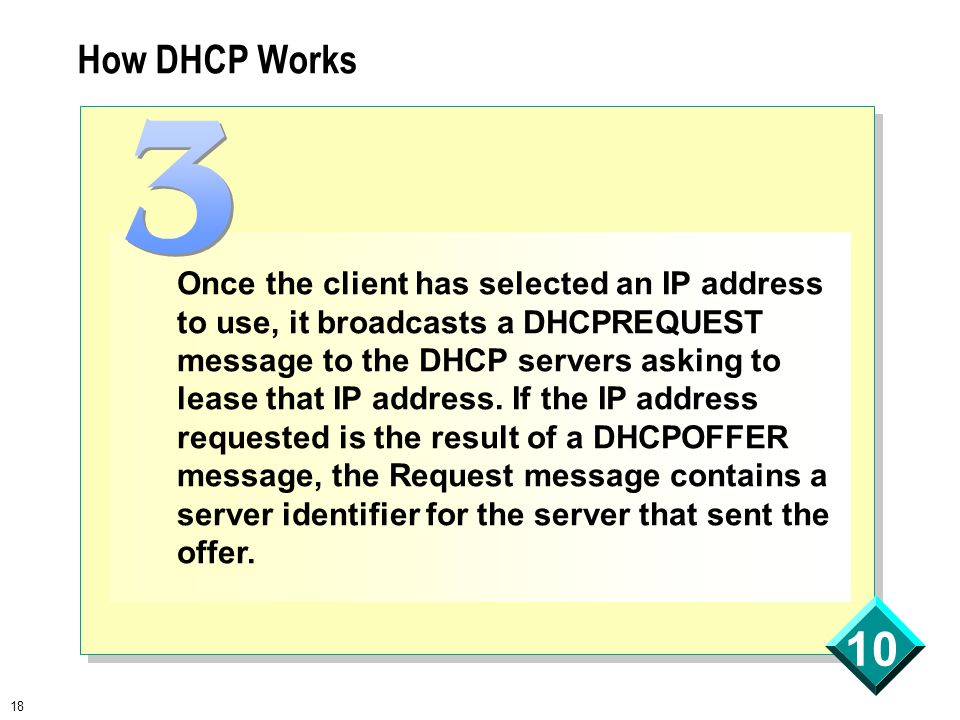 18 10 How DHCP Works Once the client has selected an IP address to use, it broadcasts a DHCPREQUEST message to the DHCP servers asking to lease that IP address.