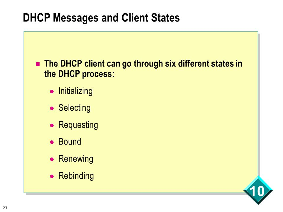 23 10 DHCP Messages and Client States The DHCP client can go through six different states in the DHCP process: Initializing Selecting Requesting Bound Renewing Rebinding
