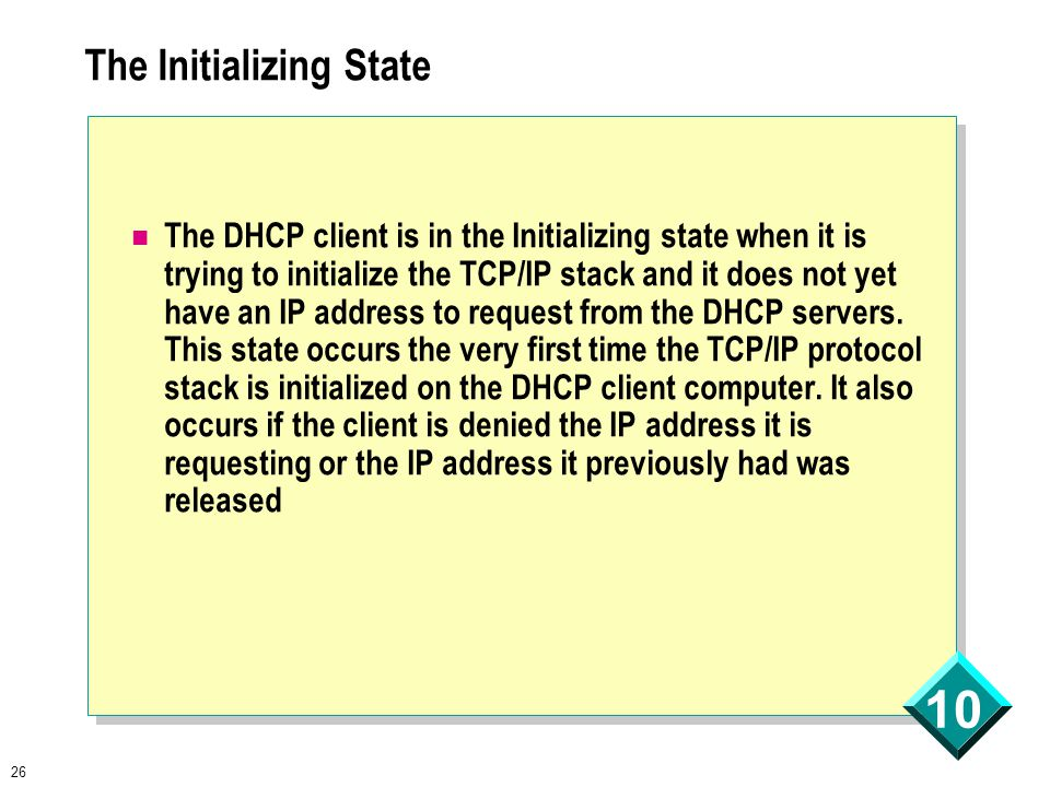 26 10 The Initializing State The DHCP client is in the Initializing state when it is trying to initialize the TCP/IP stack and it does not yet have an IP address to request from the DHCP servers.