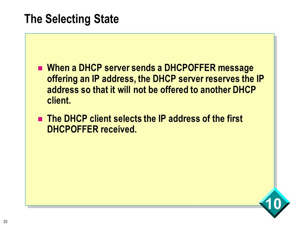30 10 The Selecting State When a DHCP server sends a DHCPOFFER message offering an IP address, the DHCP server reserves the IP address so that it will not be offered to another DHCP client.