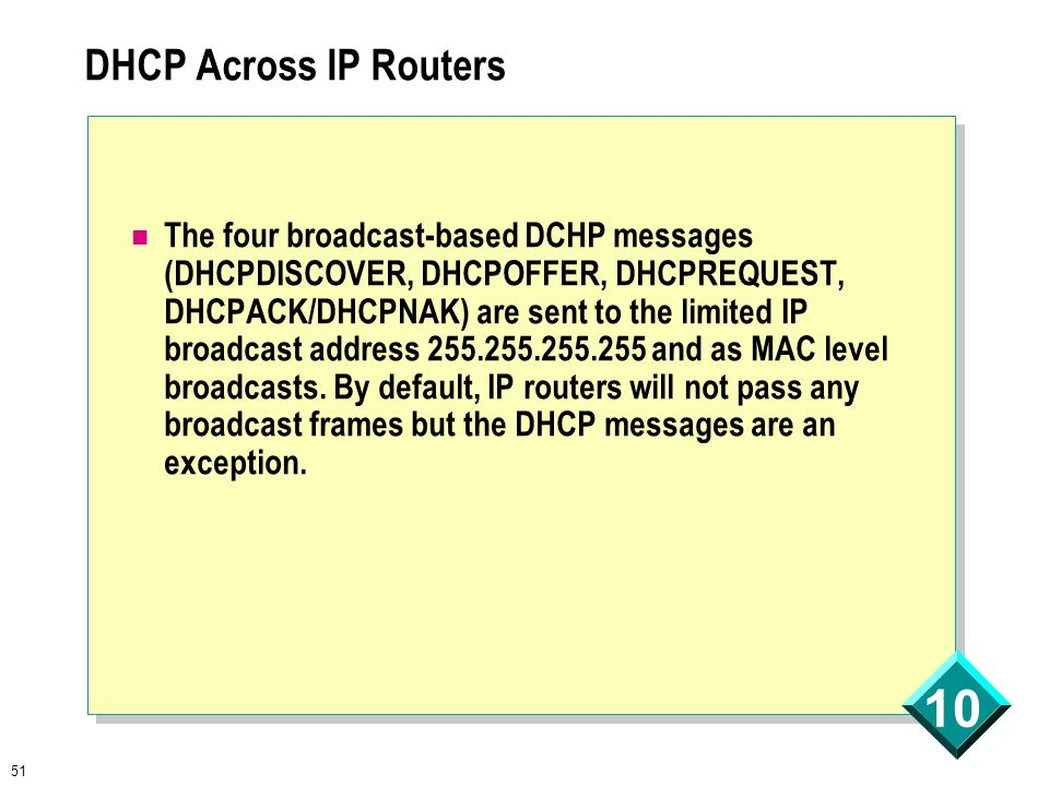 51 10 DHCP Across IP Routers The four broadcast-based DCHP messages (DHCPDISCOVER, DHCPOFFER, DHCPREQUEST, DHCPACK/DHCPNAK) are sent to the limited IP broadcast address 255.255.255.255 and as MAC level broadcasts.