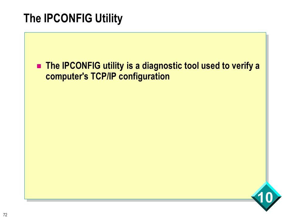 72 10 The IPCONFIG Utility The IPCONFIG utility is a diagnostic tool used to verify a computer s TCP/IP configuration