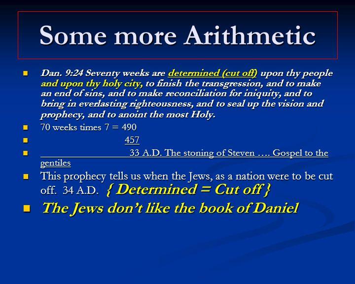 Some more Arithmetic Dan.