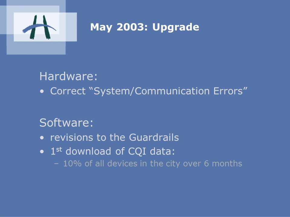 May 2003: Upgrade Hardware: Correct System/Communication Errors Software: revisions to the Guardrails 1 st download of CQI data: –10% of all devices in the city over 6 months