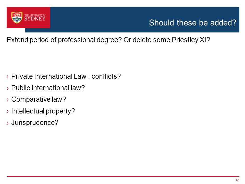 Should these be added? ›Private International Law : conflicts? ›Public international law? ›Comparative law? ›Intellectual property? ›Jurisprudence? 12