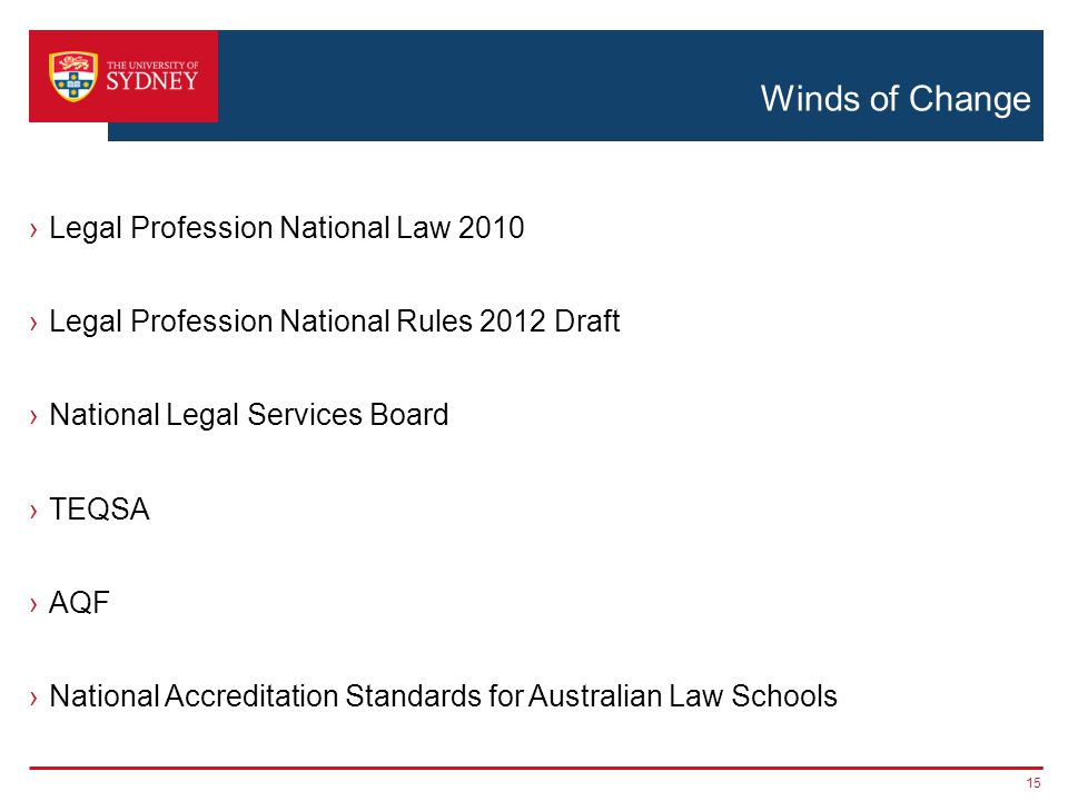 Winds of Change ›Legal Profession National Law 2010 ›Legal Profession National Rules 2012 Draft ›National Legal Services Board ›TEQSA ›AQF ›National Accreditation Standards for Australian Law Schools 15