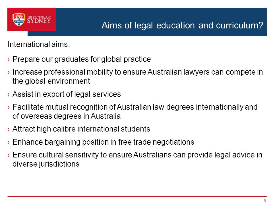 Aims of legal education and curriculum.