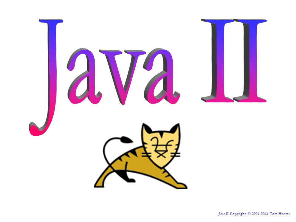 Java II--Copyright © 2001-2003 Tom Hunter public class Myclass implements Serializable { private String myVariable = ; public Myclass() { } public void setMyVariable( String m ) { myVariable = m; } public String getMyVariable() { return myVariable; } Sidebar: JavaBeans This JavaBean is said to have a property of myVariable .