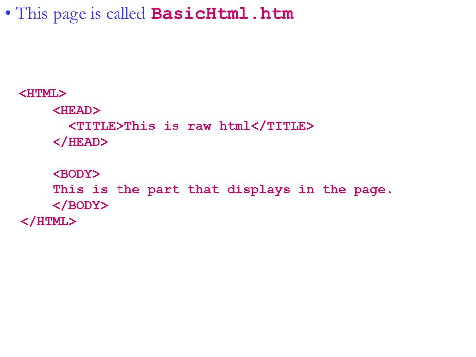Java II--Copyright © 2001-2003 Tom Hunter This page is called BasicHtml.htm This is raw html This is the part that displays in the page.