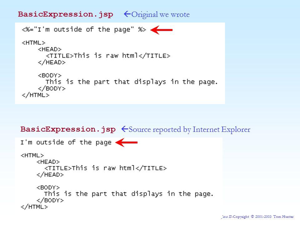 Java II--Copyright © 2001-2003 Tom Hunter BasicExpression.jsp  Original we wrote  Source reported by Internet Explorer