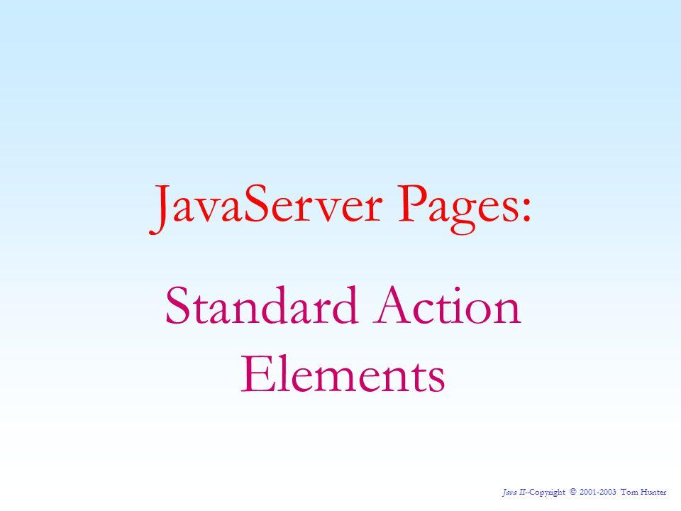 Java II--Copyright © 2001-2003 Tom Hunter JavaServer Pages: Standard Action Elements