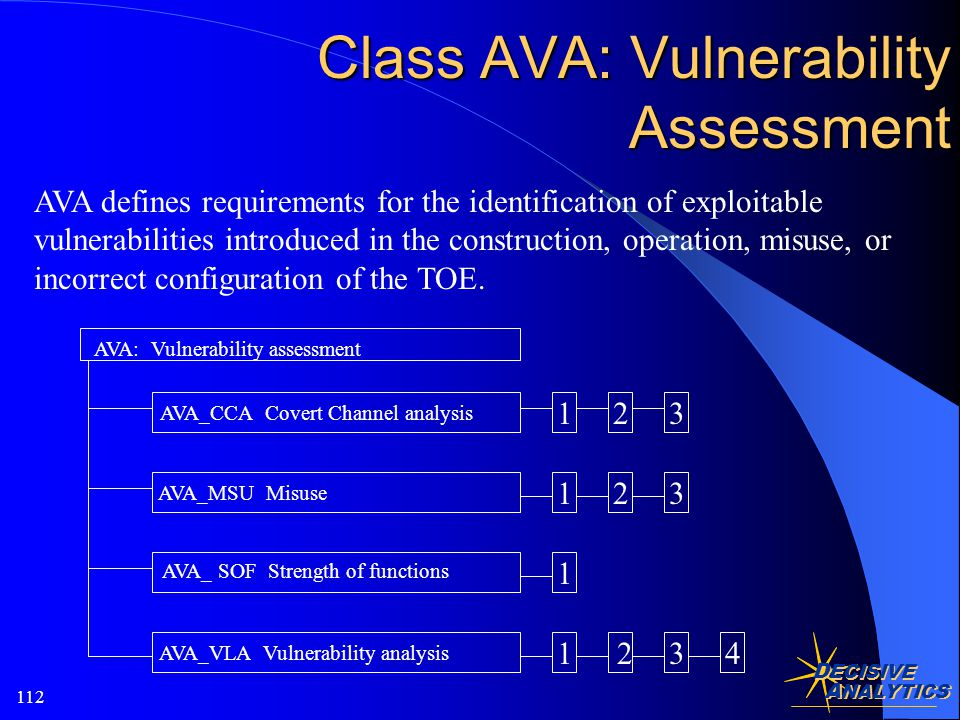 D ECISIVE A NALYTICS 112 AVA defines requirements for the identification of exploitable vulnerabilities introduced in the construction, operation, misuse, or incorrect configuration of the TOE.