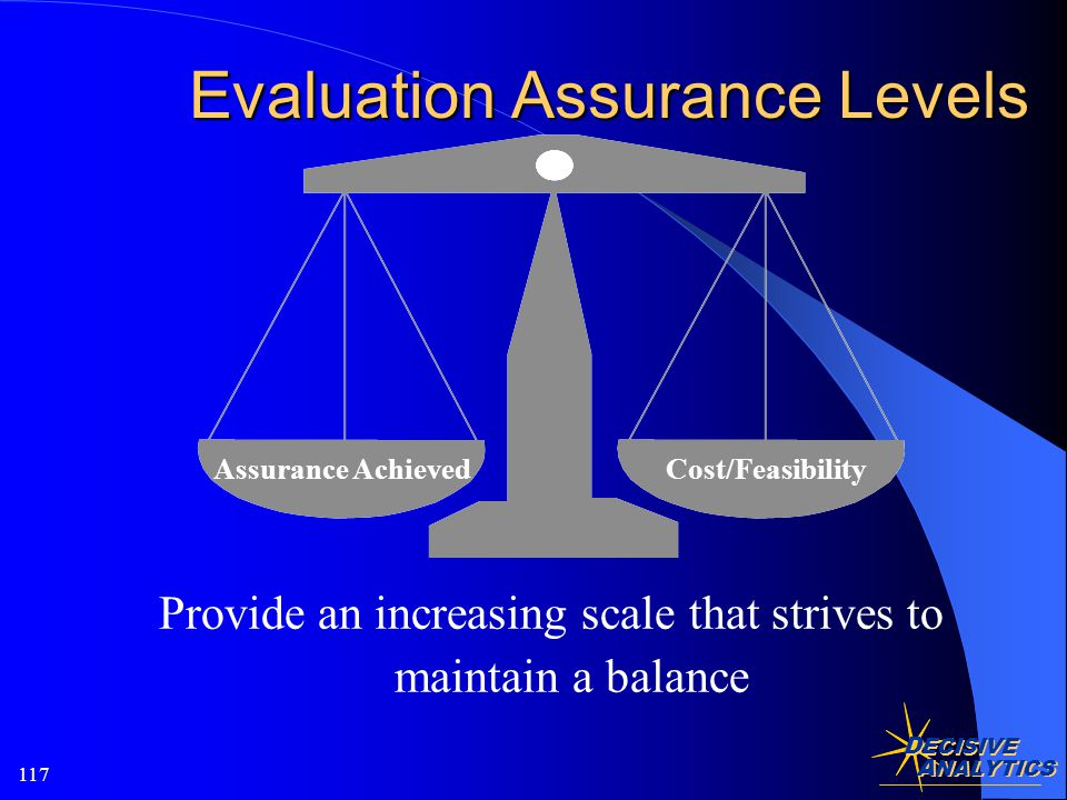 D ECISIVE A NALYTICS 117 Evaluation Assurance Levels Assurance AchievedCost/Feasibility Provide an increasing scale that strives to maintain a balance
