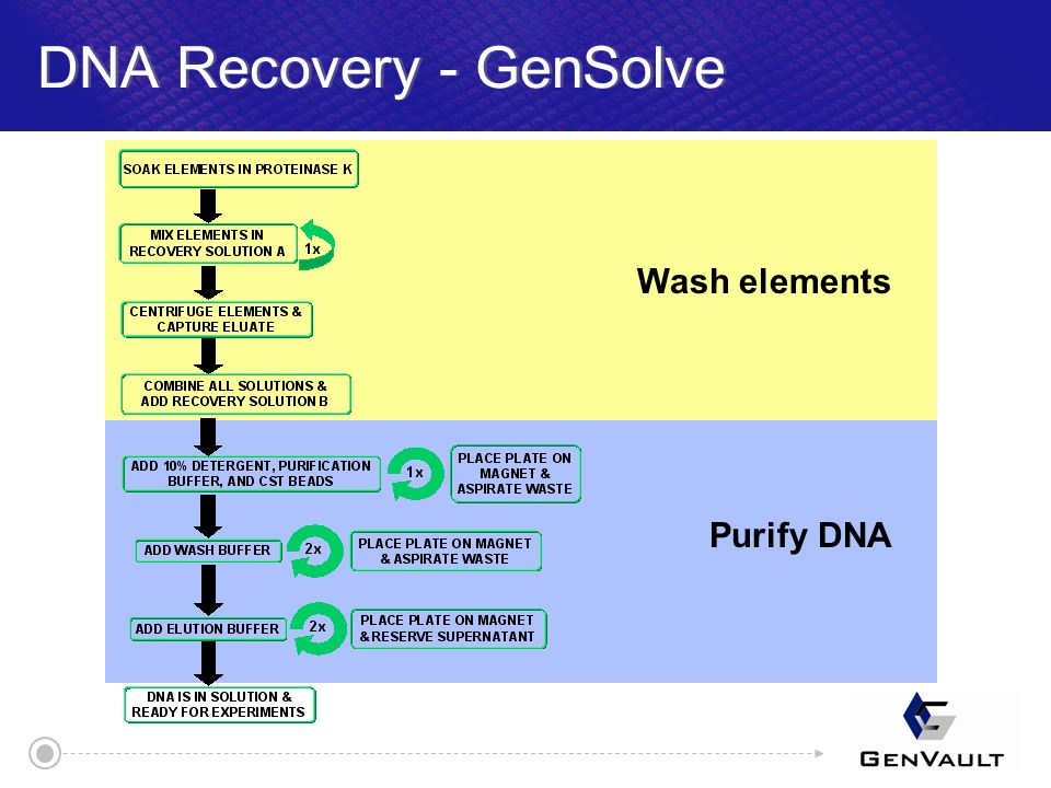 DNA Recovery - GenSolve Wash elements Purify DNA