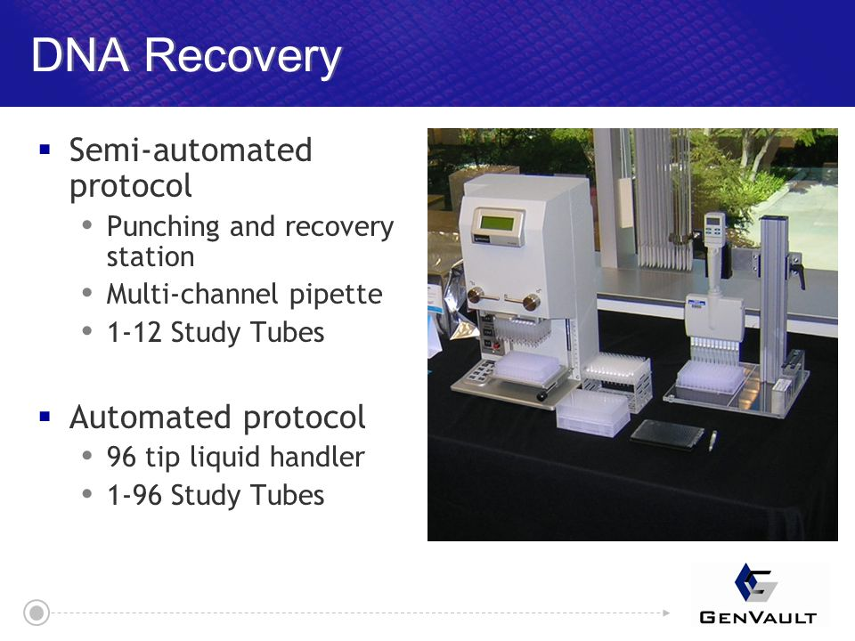 DNA Recovery  Semi-automated protocol  Punching and recovery station  Multi-channel pipette  1-12 Study Tubes  Automated protocol  96 tip liquid handler  1-96 Study Tubes