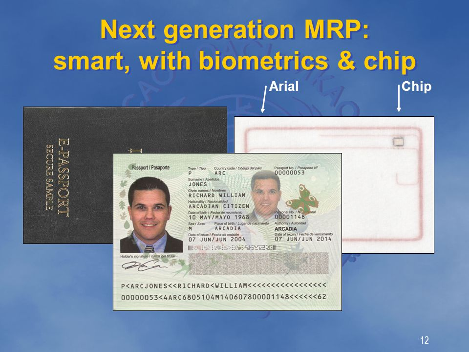 12 Next generation MRP: smart, with biometrics & chip Chip Arial