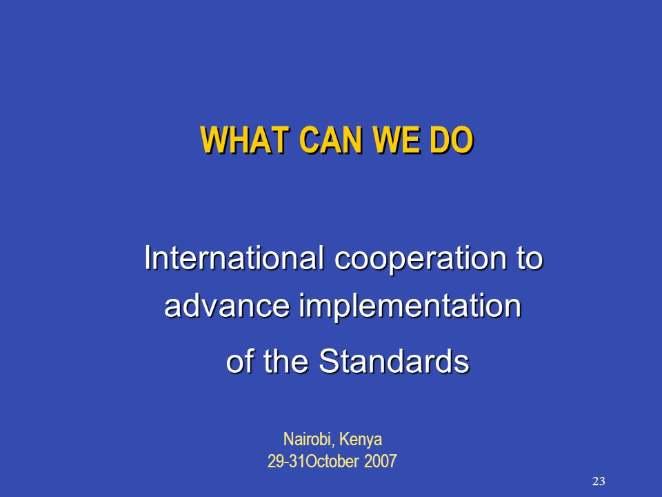 Nairobi, Kenya 29-31October 2007 23 WHAT CAN WE DO International cooperation to advance implementation of the Standards of the Standards