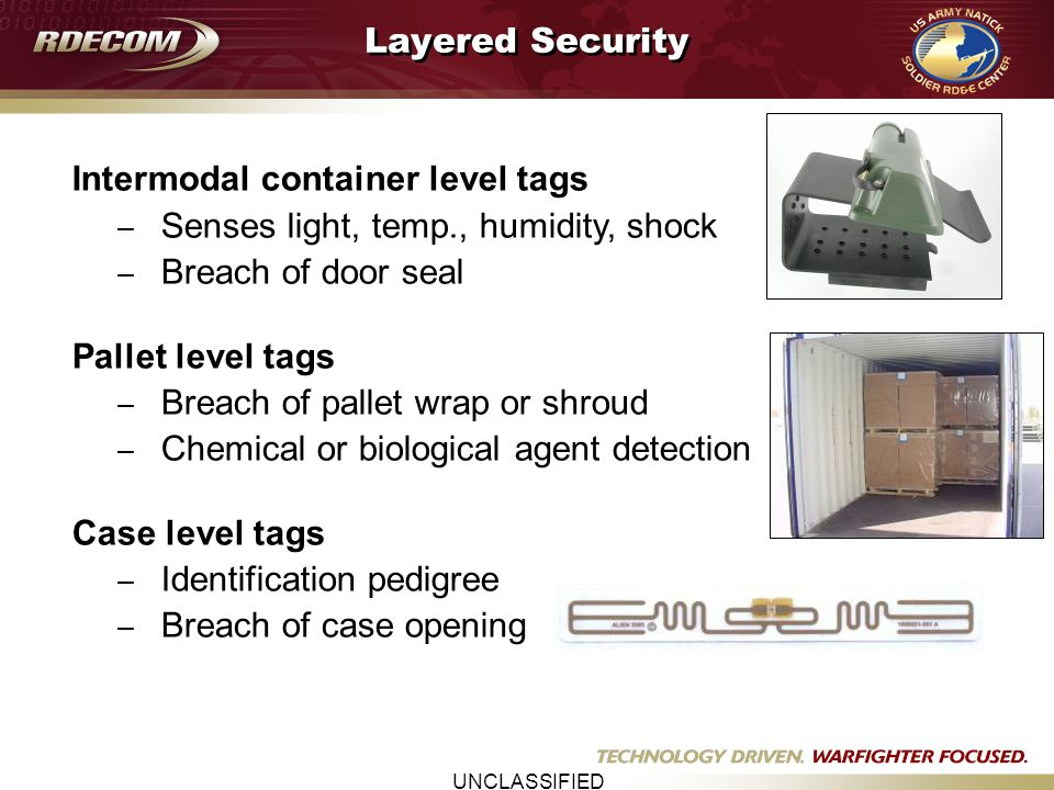 UNCLASSIFIED Tamper Evident Tech Demo RFID Asset Tracking & Tamper Detection Technology Demo CONUS to OCONUS 30 containers surveyed 60 Savi Tags and 2 Impeva Devices Active RFID and wireless technologies Environmental Sensors Tech Report Published