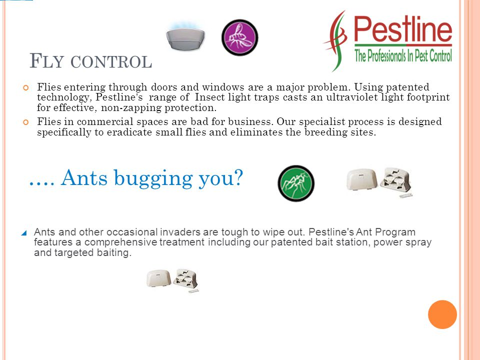 F LY CONTROL Flies entering through doors and windows are a major problem. Using patented technology, Pestline's range of Insect light traps casts an