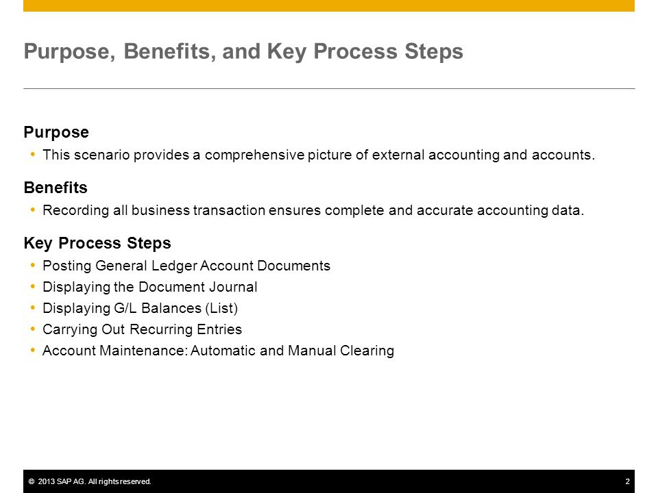©2013 SAP AG. All rights reserved.2 Purpose, Benefits, and Key Process Steps Purpose  This scenario provides a comprehensive picture of external acco