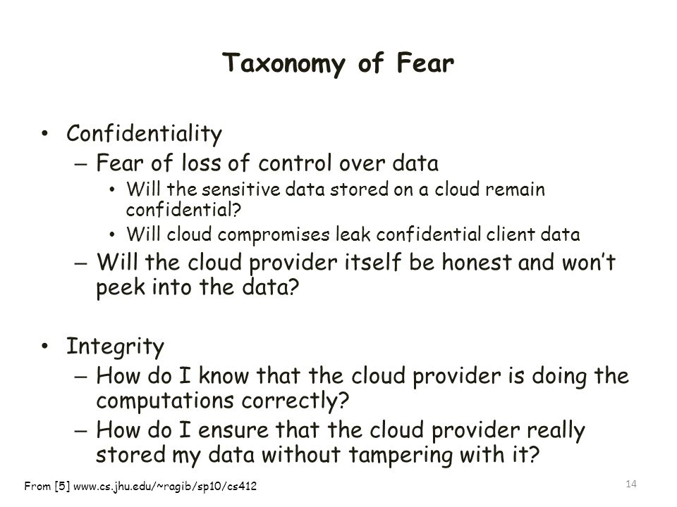Taxonomy of Fear Confidentiality – Fear of loss of control over data Will the sensitive data stored on a cloud remain confidential? Will cloud comprom