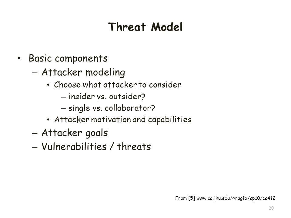 Threat Model Basic components – Attacker modeling Choose what attacker to consider – insider vs. outsider? – single vs. collaborator? Attacker motivat