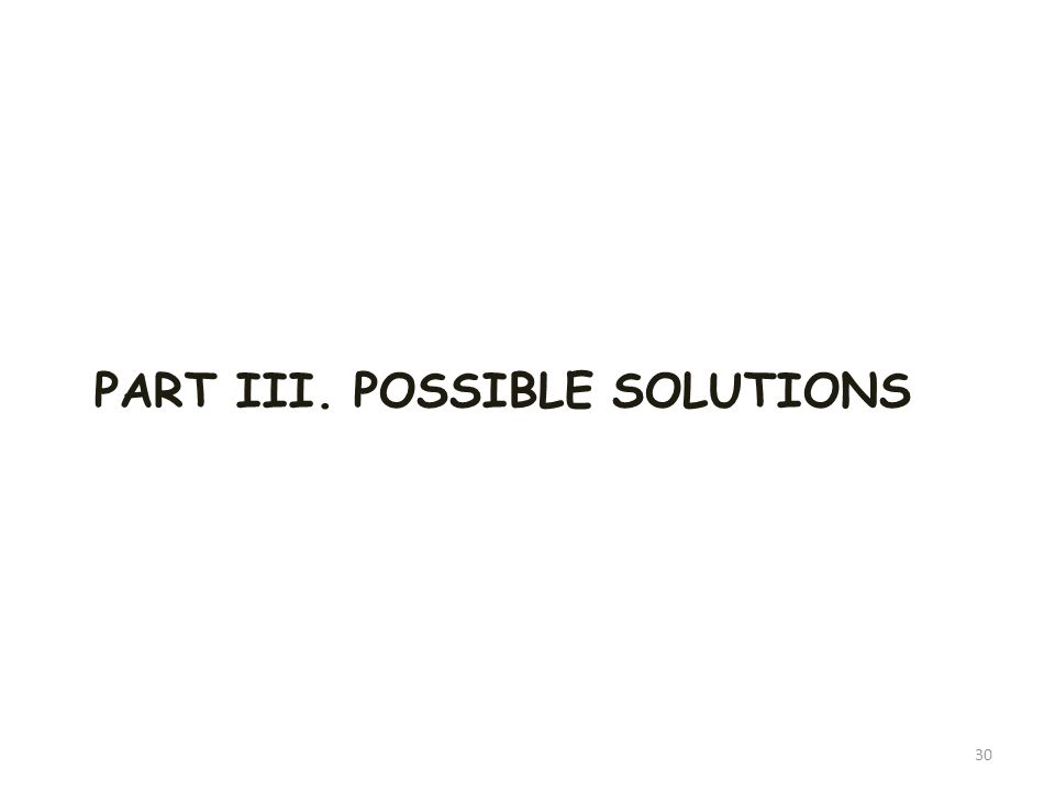 PART III. POSSIBLE SOLUTIONS 30