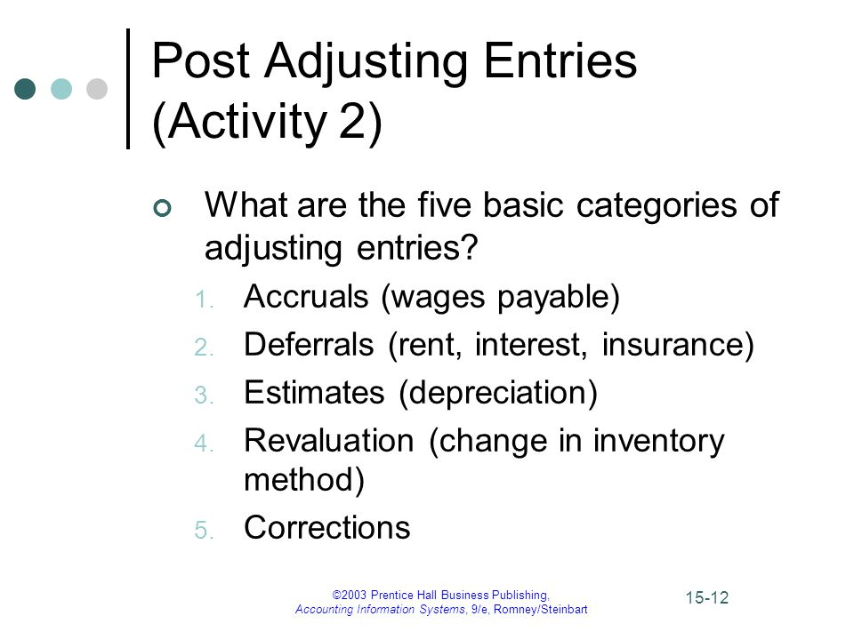 ©2003 Prentice Hall Business Publishing, Accounting Information Systems, 9/e, Romney/Steinbart 15-12 Post Adjusting Entries (Activity 2) What are the five basic categories of adjusting entries.
