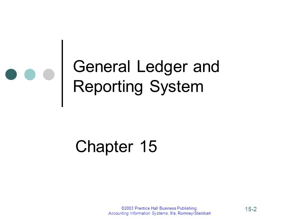 ©2003 Prentice Hall Business Publishing, Accounting Information Systems, 9/e, Romney/Steinbart 15-2 General Ledger and Reporting System Chapter 15