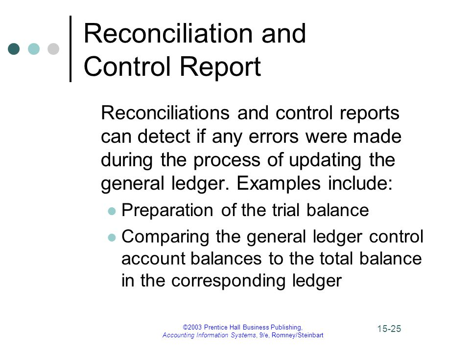 ©2003 Prentice Hall Business Publishing, Accounting Information Systems, 9/e, Romney/Steinbart 15-26 Reconciliation and Control Report The audit trail is the path of a transaction through the accounting system.