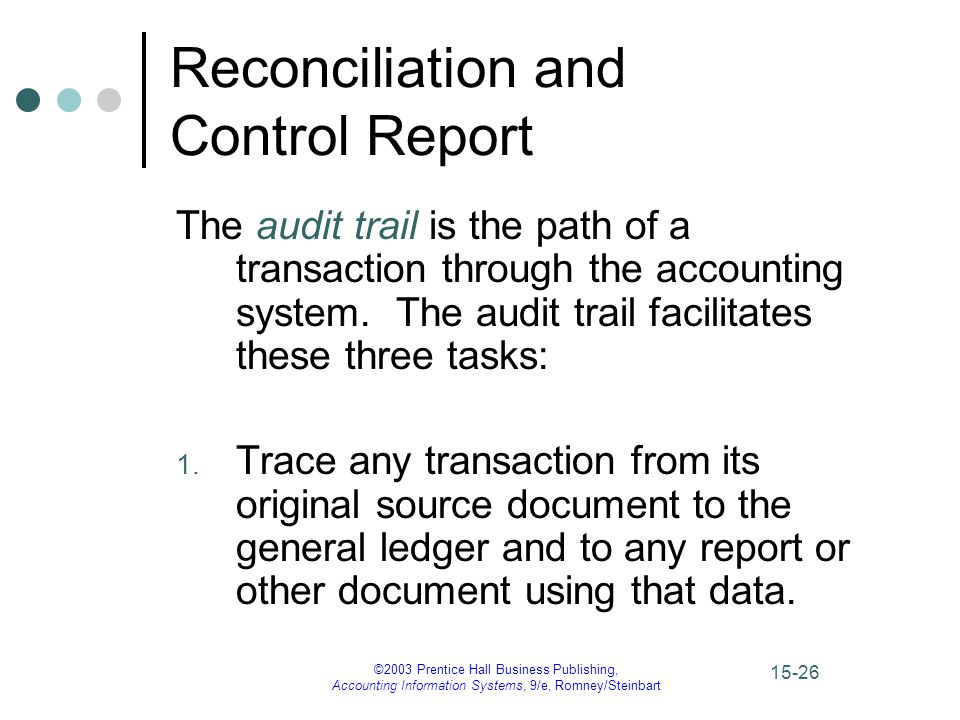 ©2003 Prentice Hall Business Publishing, Accounting Information Systems, 9/e, Romney/Steinbart 15-27 Reconciliation and Control Report The audit trail, continued 2.