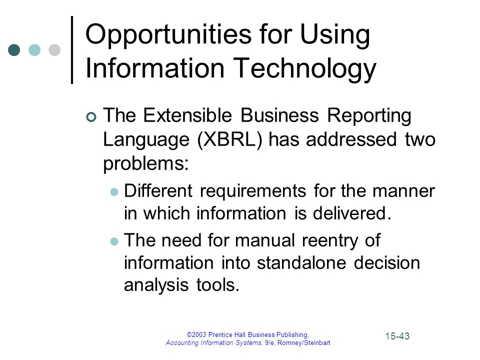 ©2003 Prentice Hall Business Publishing, Accounting Information Systems, 9/e, Romney/Steinbart 15-44 Opportunities for Using Information Technology XBRL provides two benefits: It enables organizations to publish information only once using standard XBRL tags.