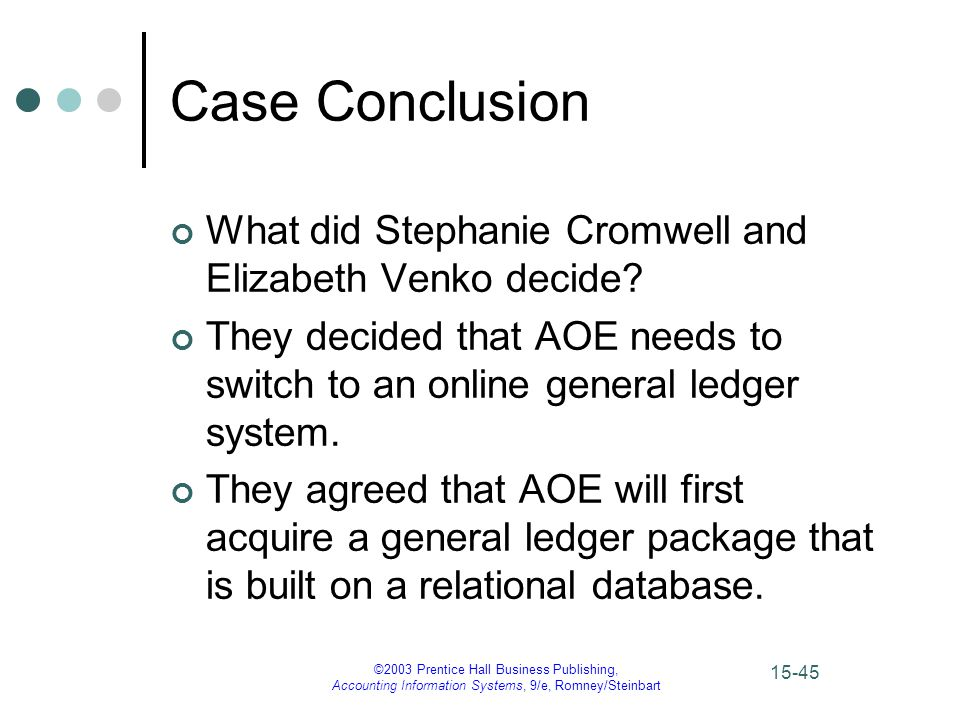 ©2003 Prentice Hall Business Publishing, Accounting Information Systems, 9/e, Romney/Steinbart 15-45 Case Conclusion What did Stephanie Cromwell and Elizabeth Venko decide.