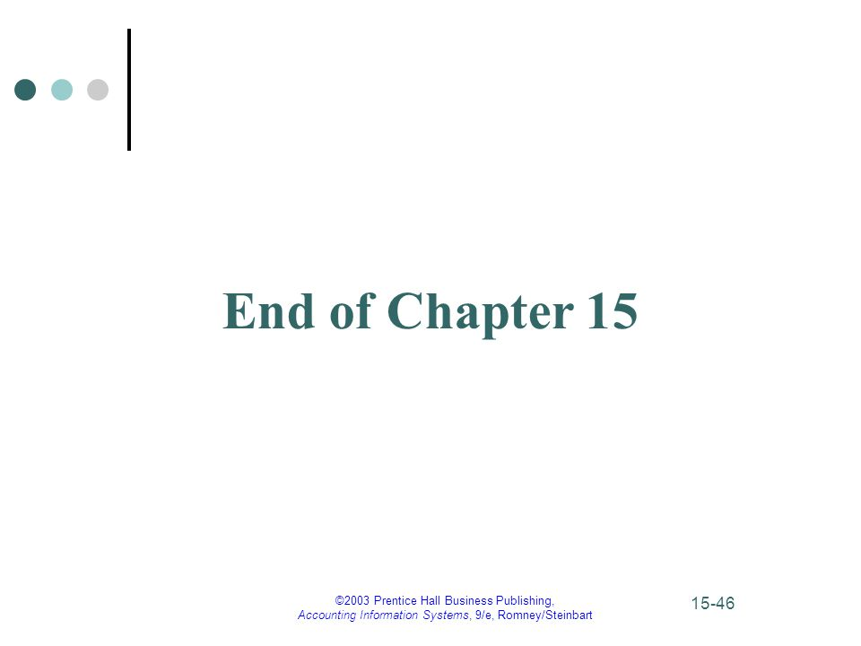 ©2003 Prentice Hall Business Publishing, Accounting Information Systems, 9/e, Romney/Steinbart 15-46 End of Chapter 15