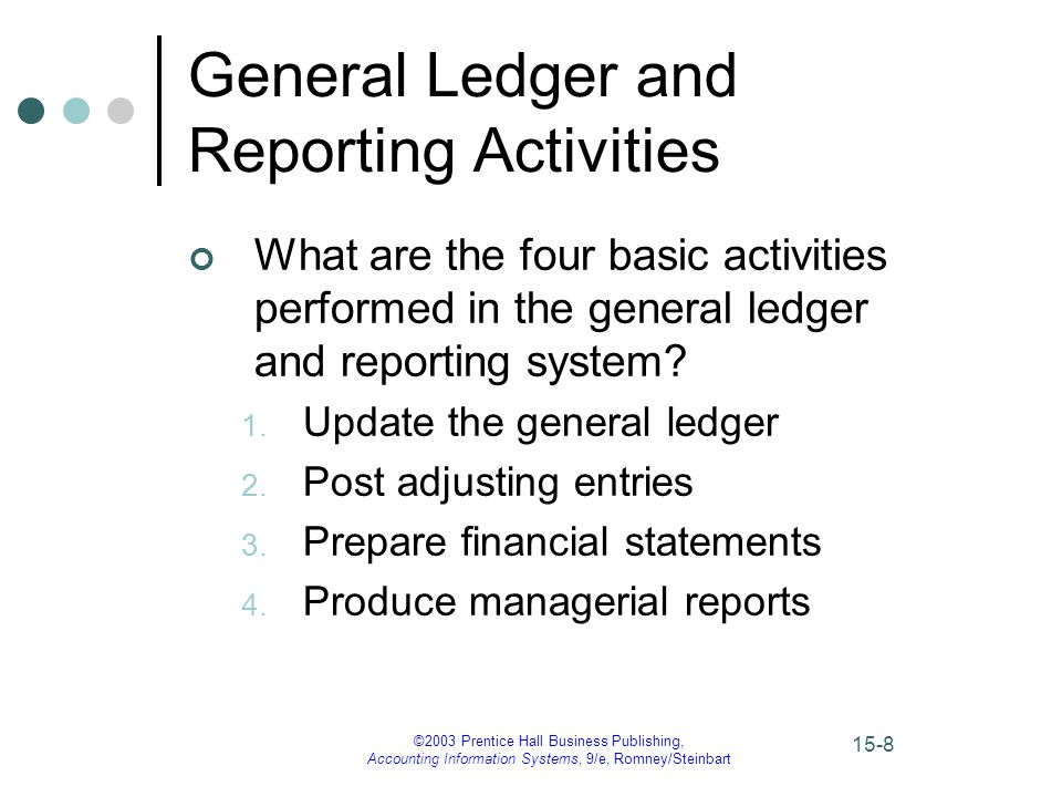 ©2003 Prentice Hall Business Publishing, Accounting Information Systems, 9/e, Romney/Steinbart 15-8 General Ledger and Reporting Activities What are the four basic activities performed in the general ledger and reporting system.