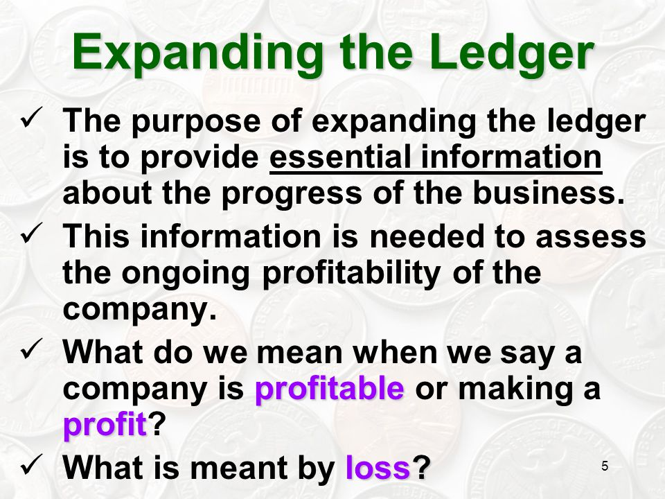 5 The purpose of expanding the ledger is to provide essential information about the progress of the business. This information is needed to assess the