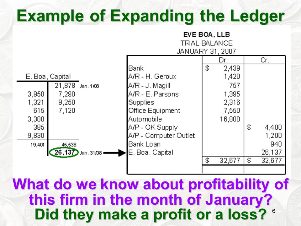 6 Example of Expanding the Ledger What do we know about profitability of this firm in the month of January? Did they make a profit or a loss?