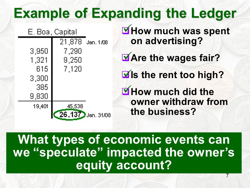 8 Owner's Equity $26,137 Example of Expanding the Ledger Now … what can we determine about the profitability of this firm?