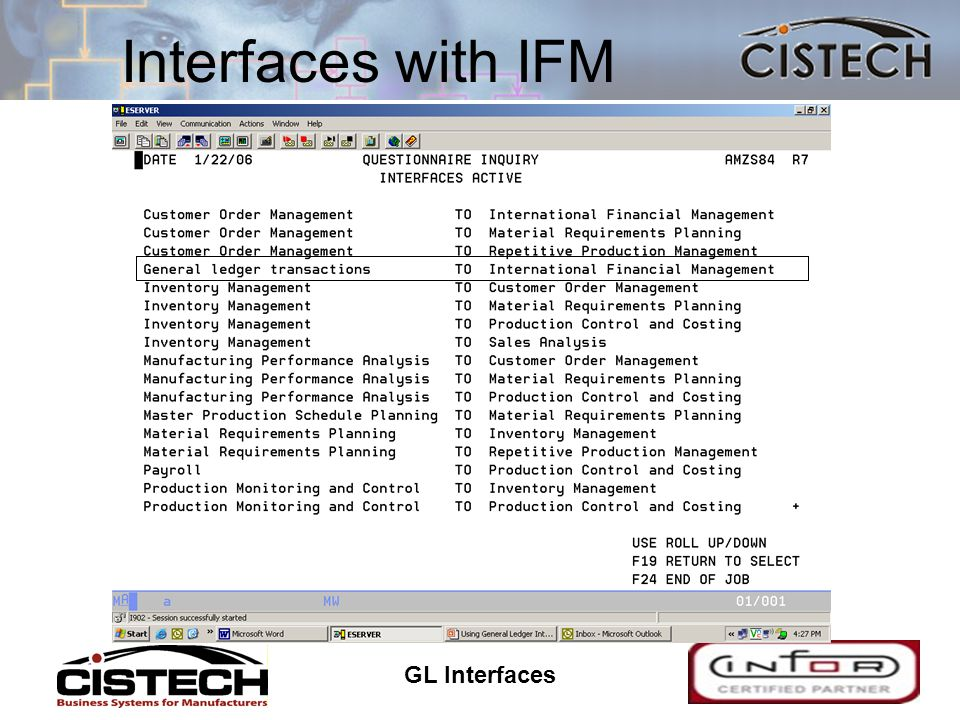 GL Interfaces 11 Interfaces with IFM