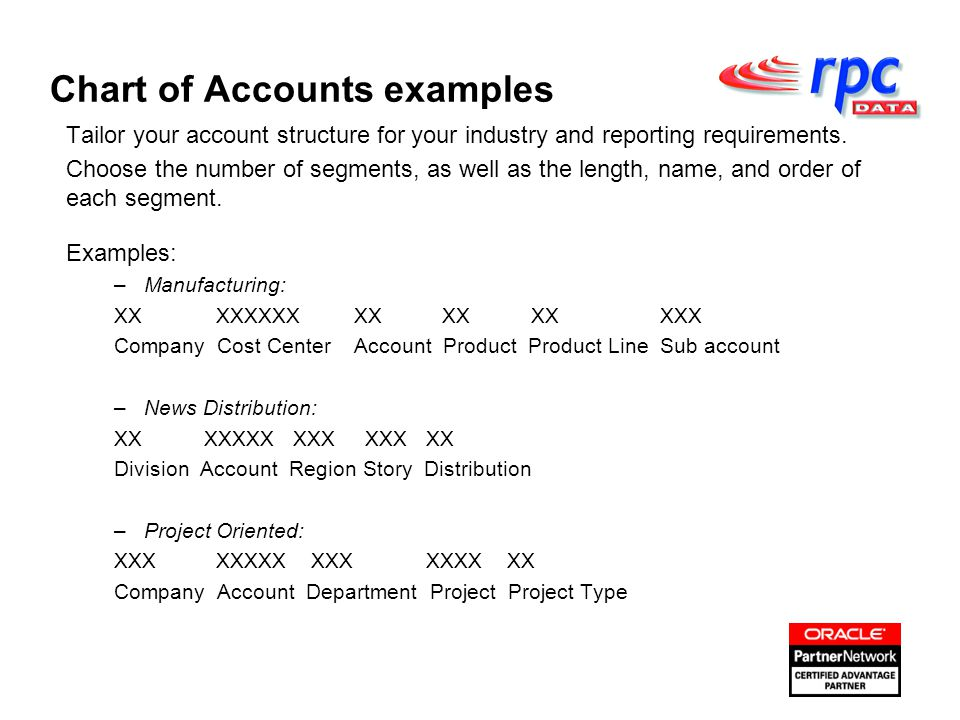 Tailor your account structure for your industry and reporting requirements.
