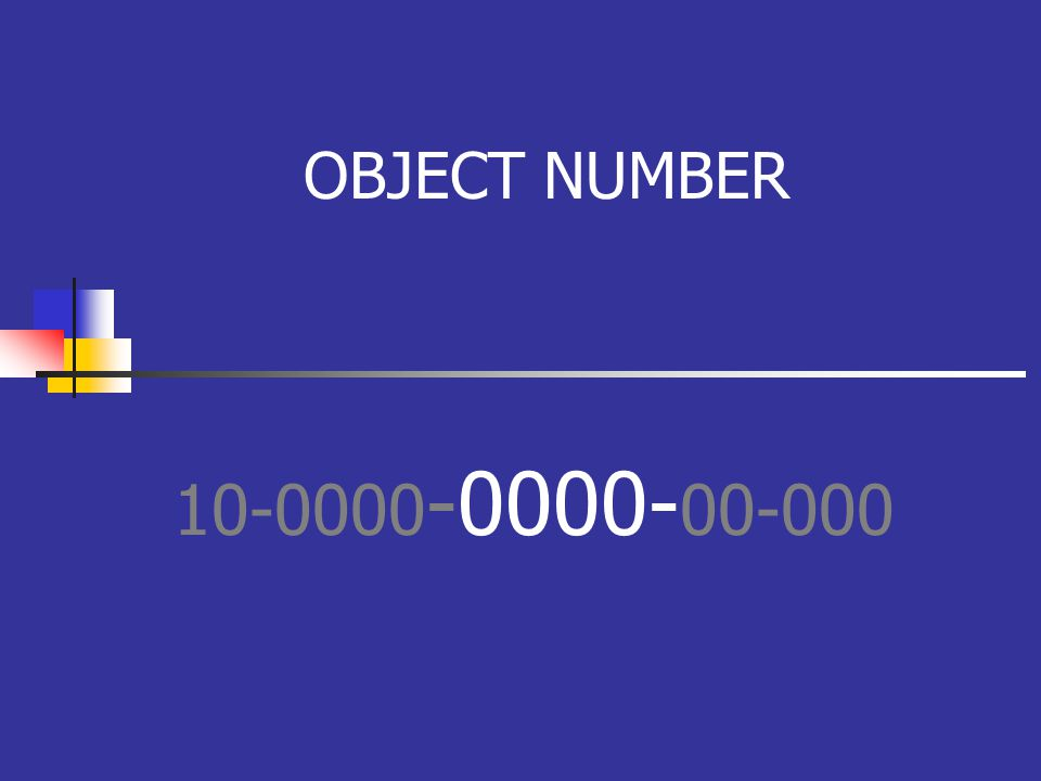 OBJECT NUMBER 10-0000 -0000- 00-000
