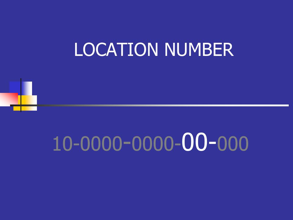LOCATION NUMBER 10-0000 - 0000- 00- 000