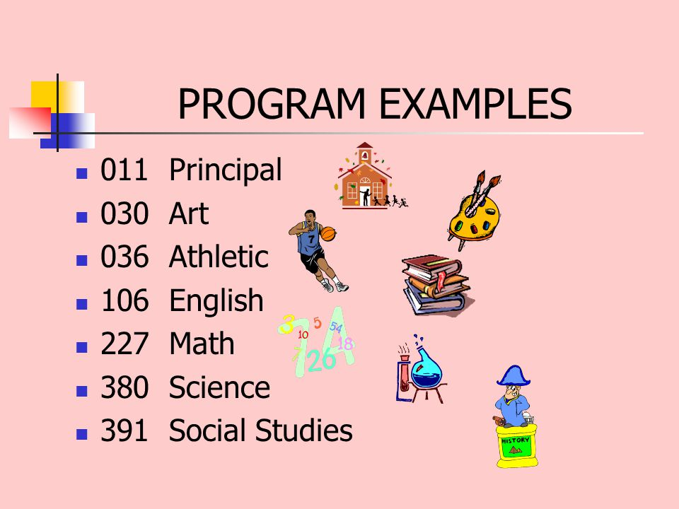 PROGRAM EXAMPLES 011 Principal 030 Art 036 Athletic 106 English 227 Math 380 Science 391 Social Studies